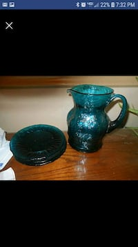 Crackle Glass Pitcher And 3 Dessert Plates  19362, 19362
