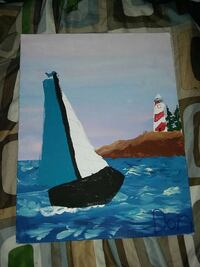 blue sailing ship painting Nebraska