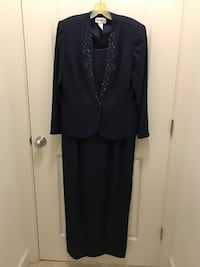 Mother of the Bride full length dress with long sleeve jacket by Karen Miller. Size 16. Navy Blue. polyester. Worn only once. Sterling, 20164