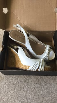 Pair of white leather peep toe wedge sandals in box London, N6H 2L8
