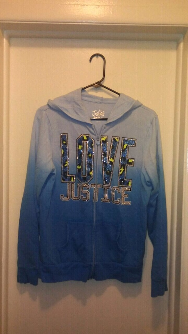 blue Love Justice zip-up hoodie