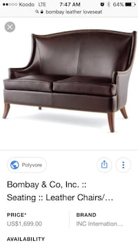 **BRAND NEW** Bombay Brown Leather Couche  Montréal, H8Z 2Y7
