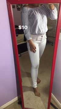 Women's gray and white stripe off-shoulder long-sleeve shirt and white fitted pants