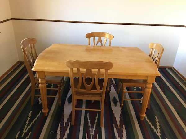Solid Maple Dining Table 4 Chairs