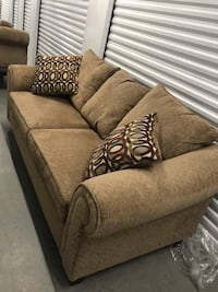 Tan couch with loveseat