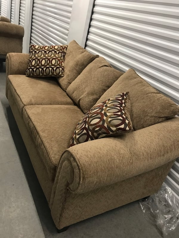 Tan couch with loveseat 4c98d108-f92f-4ccd-8b87-57f998bd8430