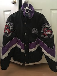 black and white Raptors button-up jacket