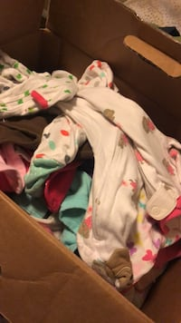 diaper box full of 3 month  girl clothes Owasso, 74055