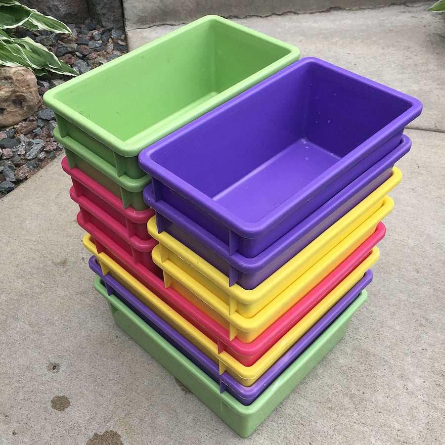12 Stackable Multi-color Plastic Bins for $5 a1097970-6150-446c-bab2-c5bad781dbc9