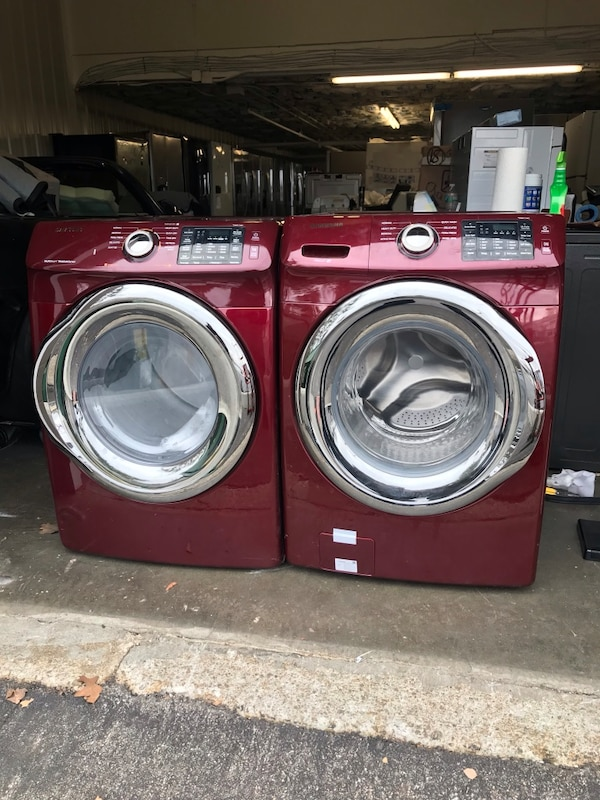 Used Samsung Stackable Front Load Washer Dryer Set In Red