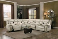 Amite Beige Leather Gel Power Reclining Sectional  Houston