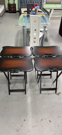 Set of four mahogany wood TV trays clearance Essex, 21221