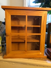 Pine wood and glass display cabinet