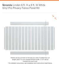 Linden Pro Series Professional Vinyl Fence panel Kit. $70.00 each Actual size: 68in high X 94in wide I have 8 Kits for sale. Also for Vinyl Fence post Tops  $4.00each Selma, 36703