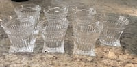 Set of seven clear cut crystal  cups