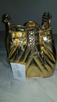 gold-colored patent leather bucket bag Washington, 20019