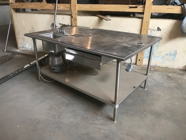 Used Stainless Steel Tables >> Stainless Steel Table With Pot Rack Sink And Dishwasher