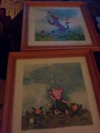 two brown framed paintings of Tigger and Piglet Middletown, 45044