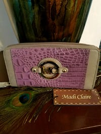 Madi Claire Designer Leather Wallet  in Gray/ Lavendar.  New With Tags Omaha, 68105
