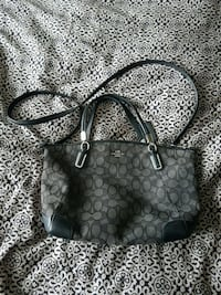 black and gray monogrammed Coach leather handbag Leduc, T9E 0H5