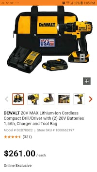 Cordless drill dewalt brand new in box never used