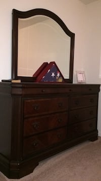 Used Solid Wood Long Dresser With Mirror Amp Nightstand For