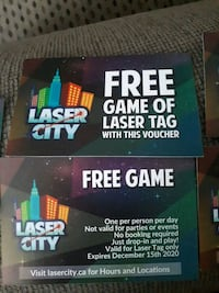 5 laser tag passes for 1 game  Edmonton, T5A