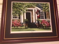 white and red house painting with brown wooden frame Columbia