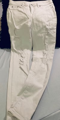 Faded Glory White Distressed Skinny Jeans Sz 6 Cabot, 72023