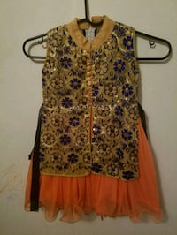 Orange and navy blue dress for girls 2-3 yrs old