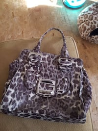purple and gray leopard pattern leather shoulder b