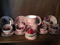 Gorgeous Vintage Italian Luncheon Pottery Set of 4 w/ Pitcher. 17 pcs. Bloomfield, 07003