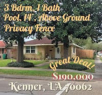 HOUSE For sale 3BR 1BA Kenner
