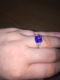silver-colored purple and clear gemstone ring Amherstburg, N9V 1G4