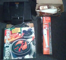 Kitchen Appliances Gadgets Lot - George Foreman Grill, Electric Knife