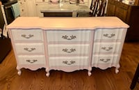 Petal pink and cream solid wood french provincial triple dresser