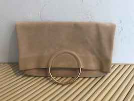 NEW Suede Foldover Clutch