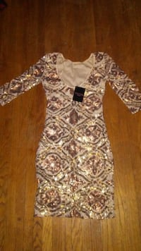 XS gold sequence Seductions dress Edmonton
