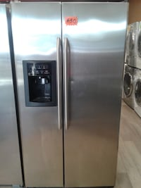 stainless steel side-by-side refrigerator with dispenser null