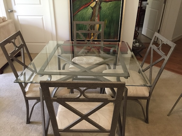 Glass and Metal Dining Table w/ 4 Chairs