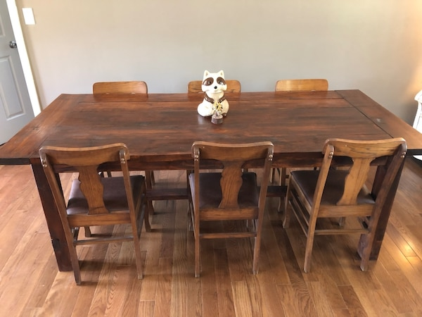 Handmade Kitchen Table and Antique Chairs