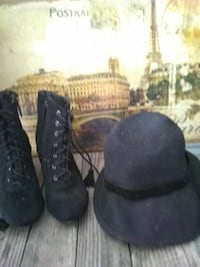 8.5 never worn boots and black hat