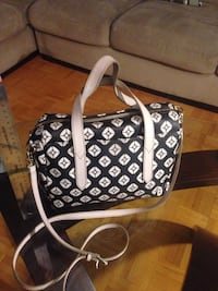 Black and white leather 2-way handbag Toronto