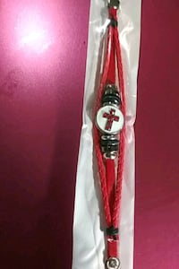 Red leather rope bracelet with cross