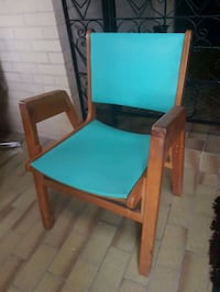 wooden framed turquoise armchair North York, M2M