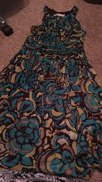 women's blue and brown floral halter sleeveless mini dress