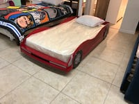 red and white car bed frame Houston, 77041