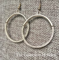 The Collection by Eden Handcrafted Earrings Silver Hoop w/Rhinestones  Frederick
