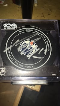 Official 100th year Oilers puck signed Edmonton, T5A 1R7