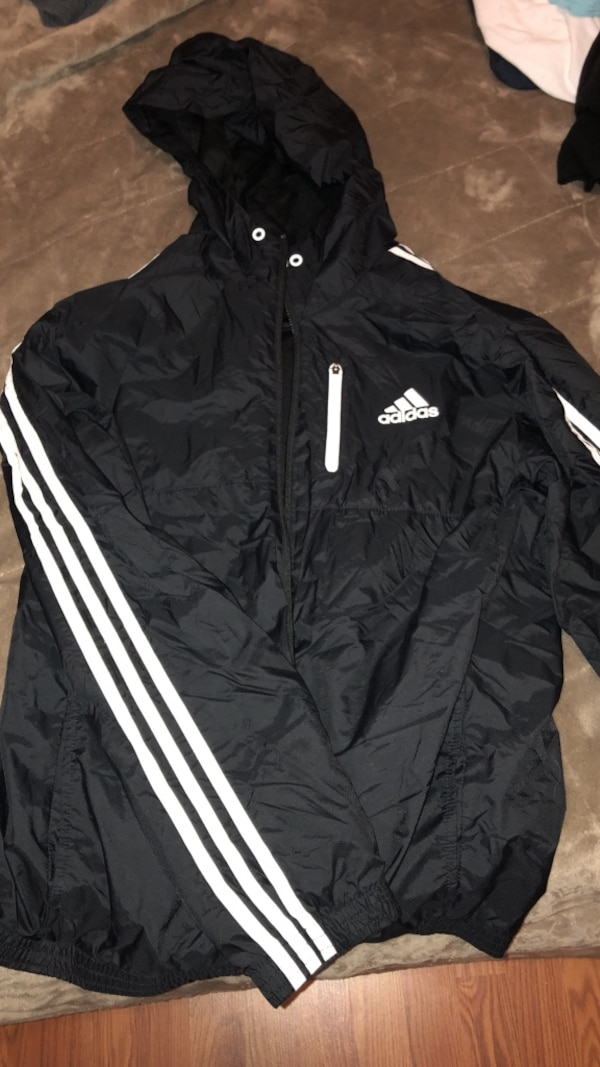 Black and white adidas zip-up jacket 47fd9f47-bd4e-45b4-a10b-ed9c89ce7d38